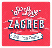 Vintage greeting card from Zagreb - Croatia. Stock Photography