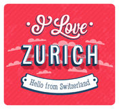 Vintage greeting card from Zurich - Switzerland. Royalty Free Stock Photos