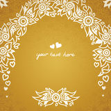 Vintage greeting cards with floral motifs in east style. Light gold background in persian style. Template design for wedding invitation. You can place your text Royalty Free Stock Photo