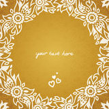 Vintage greeting cards with floral motifs in east style. Light gold background in persian style. Template design for wedding invitation. You can place your text Royalty Free Stock Photography
