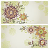Vintage greeting cards with floral motifs in east style. Stock Photo