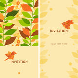 Vintage greeting cards with leaves and birds. Royalty Free Stock Photography