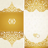 Vintage greeting cards with swirls and floral motifs in retro style. Royalty Free Stock Photo