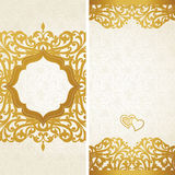 Vintage greeting cards with swirls and floral motifs in retro style. Stock Photos