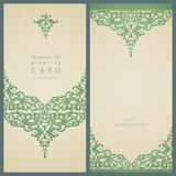 Vintage greeting cards with swirls and floral motifs in retro style. Template frame design for card. Light green vector border in Victorian style. You can place Stock Images