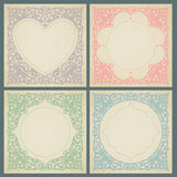 Vintage greeting cards with swirls and floral motifs in retro style. Stock Images