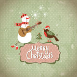 Vintage Greeting Christmas card. With singing snowman Stock Photo