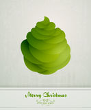 Vintage Greeting with Green Christmas Tree Royalty Free Stock Photos