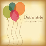 Vintage greeting postcard with balloons. Royalty Free Stock Photography