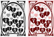 Vintage Greeting Valentine Card. Vector vintage greeting valentine card in art nouveau style in red and black Stock Images