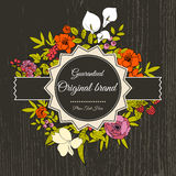 Vintage greeting vector card with flowers and Stock Images