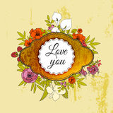 Vintage greeting vector card with flowers  Stock Photos
