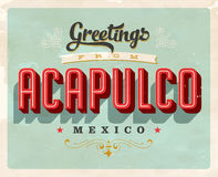 Vintage greetings from Acapulco, Mexico vacation card Royalty Free Stock Photo