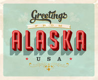 Vintage greetings from Alaska Vacation Card. Vintage vector greetings from Alaska vacation Card, with a realistic used and worn effect that can be easily removed Stock Image