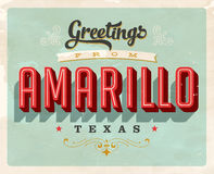 Vintage greetings from Amarillo vacation card. Vintage vector greetings vacation card, with a realistic used and worn effect that can be easily removed for a Stock Images