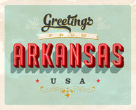 Vintage greetings from Arkansas Vacation Card. Vintage vector greetings from Arkansas vacation Card, with a realistic used and worn effect that can be easily Royalty Free Stock Images