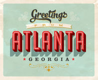 Vintage greetings from Atlanta Vacation Card. Vintage vector greetings vacation Card, with a realistic used and worn effect that can be easily removed for a Royalty Free Stock Image