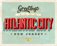 Vintage greetings from Atlantic City vacation Card. Vintage vector greetings vacation card, with a realistic used and worn effect that can be easily removed for Stock Photos