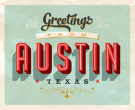 Vintage greetings from Austin vacation card. Vintage vector greetings vacation card, with a realistic used and worn effect that can be easily removed for a clean Royalty Free Stock Images