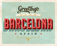 Vintage greetings from Barcelona, Spain vacation card. Vintage vector greetings vacation card, with a realistic used and worn effect that can be easily removed royalty free illustration