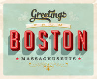 Vintage greetings from Boston vacation card. Vintage vector greetings vacation card, with a realistic used and worn effect that can be easily removed for a clean Royalty Free Stock Photography