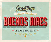 Vintage greetings from Buenos Aires, Argentina vacation card. Vintage vector greetings vacation card, with a realistic used and worn effect that can be easily royalty free illustration