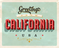 Vintage greetings from California Vacation Card. Vintage vector greetings from California vacation Card, with a realistic used and worn effect that can be easily Royalty Free Stock Images