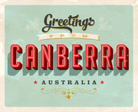 Vintage greetings from Canberra, Australia vacation card Royalty Free Stock Photography