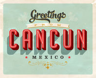 Vintage greetings from Cancun vacation card. Vintage vector greetings vacation card, with a realistic used and worn effect that can be easily removed for a clean Royalty Free Stock Photos