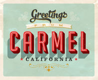 Vintage greetings from Carmel vacation card. Vintage vector greetings vacation card, with a realistic used and worn effect that can be easily removed for a clean Royalty Free Stock Image