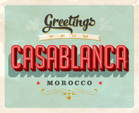 Vintage greetings from Casablanca, Morocco vacation card. Vintage vector greetings vacation card, with a realistic used and worn effect that can be easily royalty free illustration