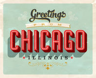 Vintage greetings from Chicago vacation card. Vintage vector greetings vacation card, with a realistic used and worn effect that can be easily removed for a Royalty Free Stock Photos