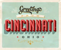 Vintage greetings from Cincinnati vacation card Royalty Free Stock Images
