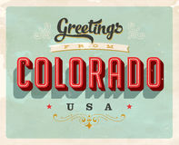 Vintage greetings from Colorado Vacation Card. Vintage vector greetings from Colorado vacation Card, with a realistic used and worn effect that can be easily Stock Image