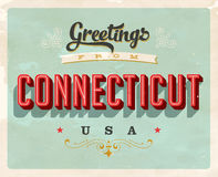 Vintage greetings from Connecticut Vacation Card. Vintage vector greetings from Connecticut vacation Card, with a realistic used and worn effect that can be Stock Photo
