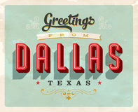 Vintage greetings from Dallas vacation card. Vintage vector greetings vacation card, with a realistic used and worn effect that can be easily removed for a clean Royalty Free Stock Images