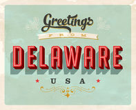 Vintage greetings from Delaware Vacation Card. Vintage vector greetings from Delaware vacation Card, with a realistic used and worn effect that can be easily Stock Images