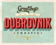 Vintage greetings from Dubrovnik, Croatia vacation card. Vintage vector greetings vacation card, with a realistic used and worn effect that can be easily removed royalty free illustration