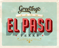 Vintage greetings from El Paso vacation card. Vintage vector greetings vacation card, with a realistic used and worn effect that can be easily removed for a Stock Images
