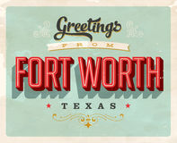 Vintage greetings from Fort Worth vacation card. Vintage vector greetings vacation card, with a realistic used and worn effect that can be easily removed for a Royalty Free Stock Images