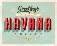 Vintage greetings from Havana, Cuba vacation card. Vintage vector greetings vacation card, with a realistic used and worn effect that can be easily removed for a Stock Photo