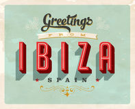 Vintage greetings from Ibiza, Spain vacation card Stock Photo