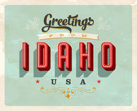 Vintage greetings from Idaho Vacation Card. Vintage vector greetings from Idaho vacation Card, with a realistic used and worn effect that can be easily removed Royalty Free Stock Photos