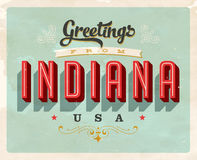 Vintage greetings from Indiana Vacation Card. Vintage vector greetings from Indiana vacation Card, with a realistic used and worn effect that can be easily Stock Photo