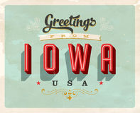 Vintage greetings from Iowa Vacation Card. Vintage vector greetings from Iowa vacation Card, with a realistic used and worn effect that can be easily removed for Stock Photos
