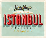 Vintage greetings from Istanbul, Turkey vacation card. Vintage vector greetings vacation card, with a realistic used and worn effect that can be easily removed vector illustration