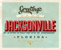 Vintage greetings from Jacksonville vacation card. Vintage vector greetings vacation card, with a realistic used and worn effect that can be easily removed for a Royalty Free Stock Images