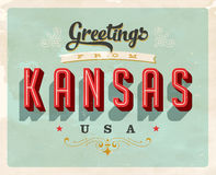 Vintage greetings from Kansas Vacation Card. Vintage vector greetings from Kansas vacation Card, with a realistic used and worn effect that can be easily removed Stock Photography