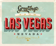Vintage greetings from Las Vegas vacation card. Vintage vector greetings vacation card, with a realistic used and worn effect that can be easily removed for a Royalty Free Stock Photo