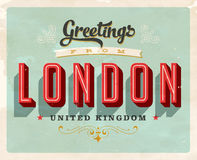 Vintage greetings from London, United Kingdom vacation card. Vintage vector greetings vacation card, with a realistic used and worn effect that can be easily stock illustration